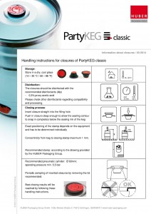 Huber Packaging handling instruction for closures of PartyKEG classic pdf cover