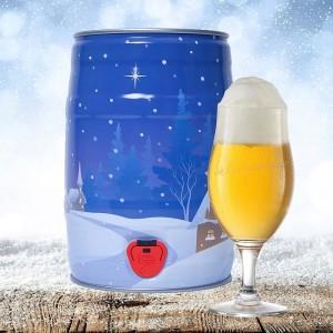 Winter keg with beer glass mini keg slideshow 600