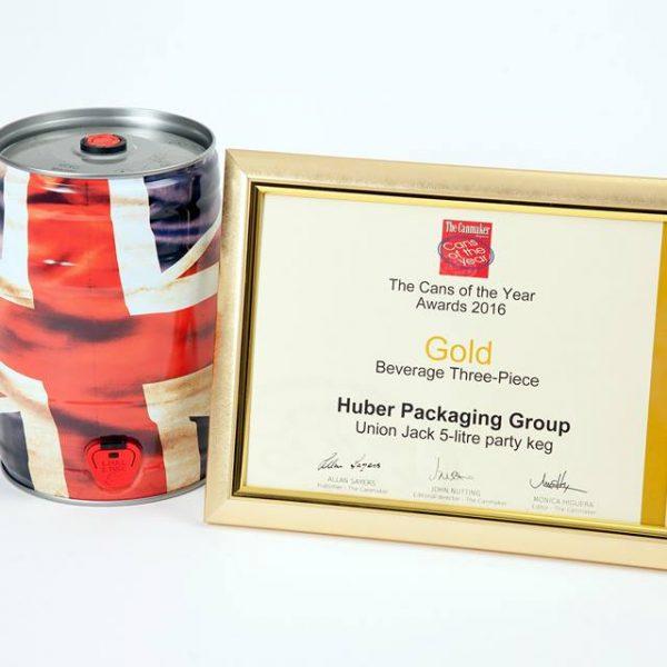 Canmaker gold award for Huber Packaging Group 5 litre mini keg