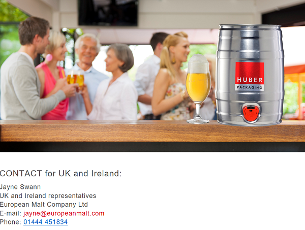 Huber Packaging UK Ireland contact Jayne Swann Mini Keg European Malt 600