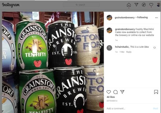 Grainstore Brewery mini kegs custom printed instagram 500